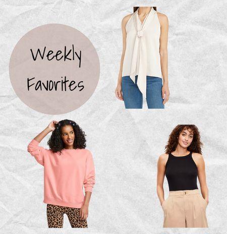 Weekly favorites: Express ivory sleeveless bow tie top (linked similar since this version is sold out), Target pink oversized sweatshirt, and Loft black halter tank 🤍💗🖤   #LTKsalealert #LTKunder50 #LTKstyletip