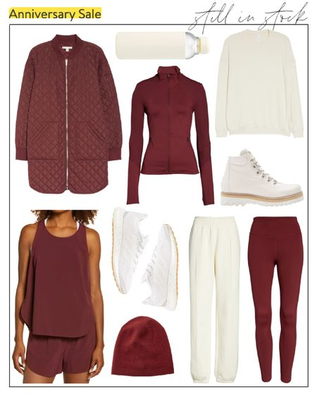 How do you feel about burgundy workout gear for fall? 🍂 Loving these Zella and Nike pieces that are still in-stock at the #nsale — the hiking boots are functional and would be perfect for a fall trip to the mountains. Almost everything pictured comes in more colors!  fall workout, fall activewear, nsale, nordstrom sale workout, nsale workout, Nordstrom Anniversary Sale, nsale Zella, nsale outfits #nsale