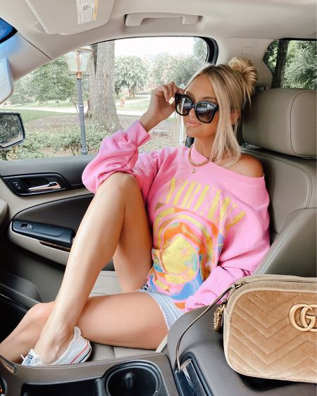 Monday vibes in the cutest oversized sweatshirt 💗💚 If you see me in this sweatshirt every day don't be surprised 🤣 http://liketk.it/3k7HL @liketoknow.it #liketkit #LTKunder100