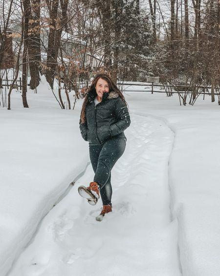 Happy snow day! Wearing size 9 bean boots, medium jacket   #LTKfit #LTKSeasonal #LTKunder100