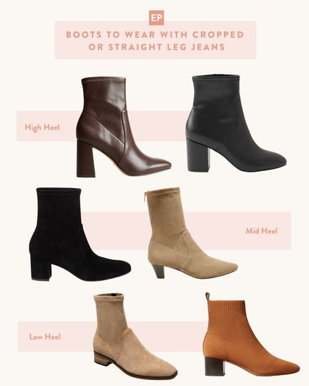 Narrow stretch shaft booties to wear under your cropped or straight leg jeans for fall outfits!   Linked options from a range of price points from brands that I own. Just got the express ones in size 5 dark brown and love the fit - considering black as well but note these are faux leather. I also have and love the Stuart weitzman round toe and point toe ones from saks off 5th for higher quality options, and the Everlane ones linked at the bottom are more sustainable options. Silent D makes great lower heeled ones too in taupe, grey and black but sizing starts in a 36 only.   #LTKstyletip #LTKunder50 #LTKSeasonal