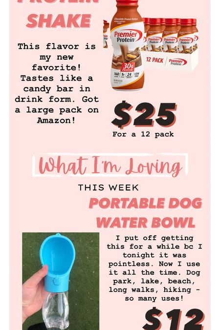 Dog water bottle // portable dog bowl // pet items // amazon finds // premier protein // protein shakes   #LTKunder50 #LTKsalealert