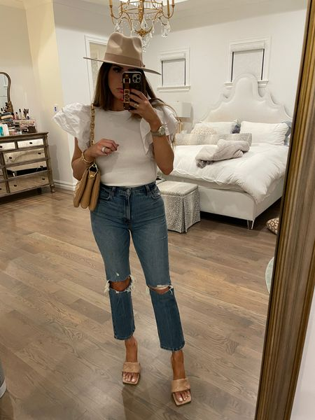 Casual outfit, casual outfit fall transitional, white ruffle sleeve tank, fall hat 2021, Louis Vuitton handbag, jeans, ankle cut high waist jeans, distressed denim, fall outfits, Emily Ann gemma  #LTKstyletip