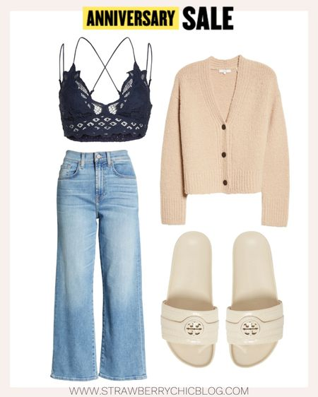 These wide leg cropped jeans with Tory Burch slides create a chic casual look.   #LTKSeasonal #LTKsalealert
