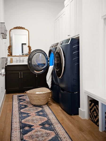 Our laundry room is getting ready to get a big renovation!  Amazon home, Amazon finds, runner, blue rug, pink rug, navy blue Decor, laundry room decor, chrome hardware, Amazon hardware, laundry room hardware, kitchen hardware, neutral Decor, coastal,  #LTKsalealert #LTKhome #LTKstyletip