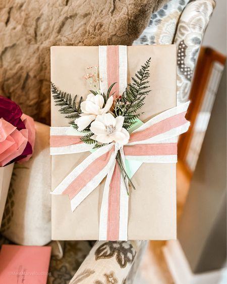 Mother's Day gift wrap ideas, beautiful gift wrapping, brown paper package gift, wedding bridal shower gift  #LTKwedding #LTKSeasonal #LTKfamily