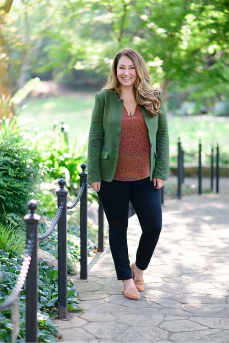 Gibsonlook x The Recruiter Mom Fall Outfit  Code RYANNE15 for 15% off all new arrivals with gibsonlook  Green blazer, size down if in-between sizes, M // gathered shoulder blouse, size up if larger chested, L // spanx black pants, size up XLP code RYANNEXSPANX takes 10% off // loafers  Fall Style  Women's Clothing  Fall Outfits  #LTKSeasonal #LTKshoecrush #LTKstyletip