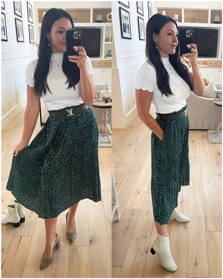 Amazing fashion finds: Dotted skirt with pockets- tons of colors  Scallop sleeve shirt- lots of colors  Louis Vuitton initials belt & designer inspired version linked.  Snakeskin block heel pumps & white knit booties linked.  Amazon finds  Sunday best    #LTKunder50 #LTKshoecrush #LTKHoliday