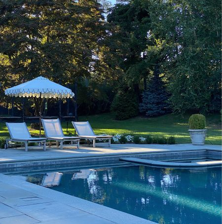 Savoring the pool and patio while we still can. Patio umbrellas   #LTKhome #LTKsalealert #LTKstyletip