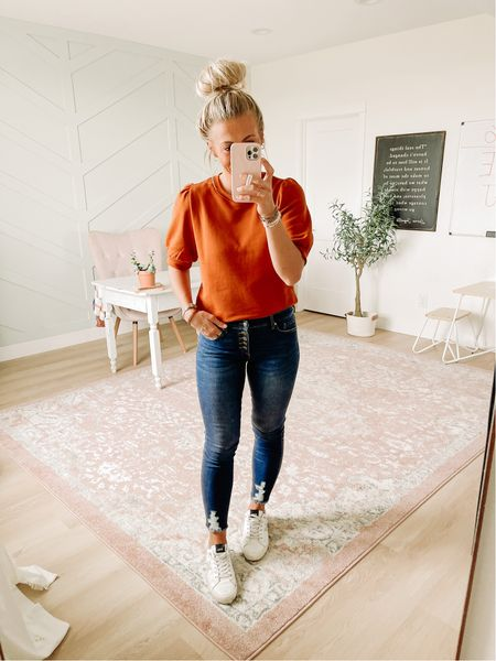 Loving this beautiful puff sleeve sweater! I'm wearing size small here. It was fully stocked a few days ago when I ordered it, but now it seems sold out. This color is still in stock at the moment! Also, these jeans are AWESOME. The fit, the fabric, the stretch–it's all so good. And under $30!!! Highly recommend.  #LTKSeasonal #LTKunder50 #LTKsalealert