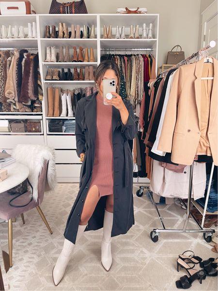 Take 15% OFF my trench duster with code: HAUTE15 Wearing sz XS— runs TTS Wearing sz petite small in sweater dress- runs TTS Go up a half size in these boots. They run small! #ltksale #gibsonlook #abercrombie #boots #kneehighboots  #LTKsalealert #LTKshoecrush #LTKstyletip