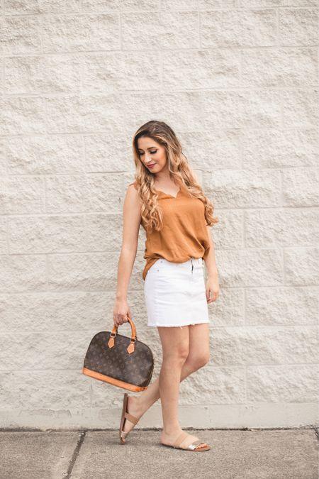 Cream orange top with white skirt!   #LTKSeasonal #LTKsalealert #LTKitbag http://liketk.it/3fk7W #liketkit @liketoknow.it