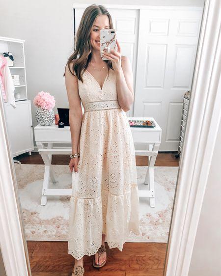 Pink eyelet maxi dress on sale $27 between 10:25am-4:25pm! #liketkit http://liketk.it/3iasL @liketoknow.it  Prime day Prime deals Amazon prime Amazon dresses