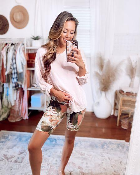 Loving this palm print biker shorts! http://liketk.it/3iGWZ @liketoknow.it #liketkit #LTKsalealert #LTKstyletip #LTKunder50