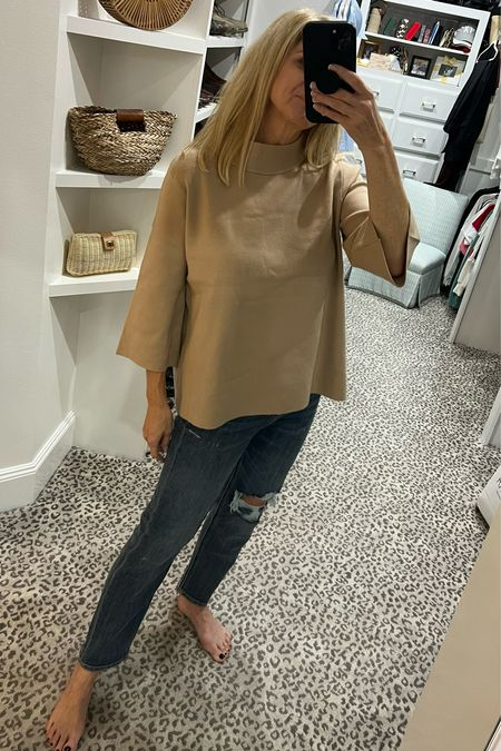 Size M top (many color choices) and jeans fit TTS   #LTKunder100 #LTKstyletip #LTKSeasonal