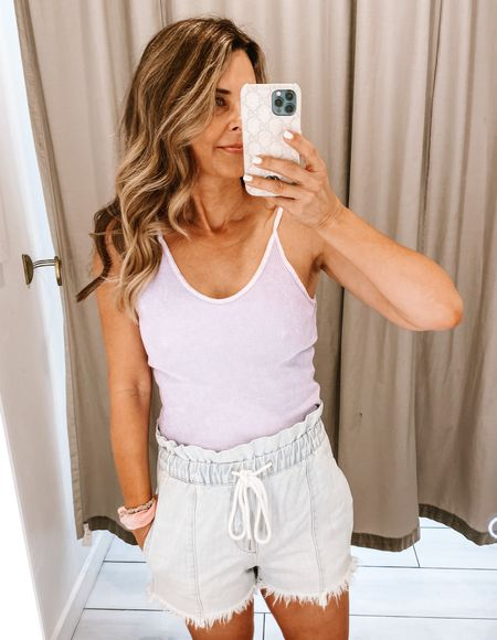 Paper bag shorts with lavender tank top, casual everyday look Her Fashioned Life   #LTKSeasonal #LTKstyletip #LTKunder50