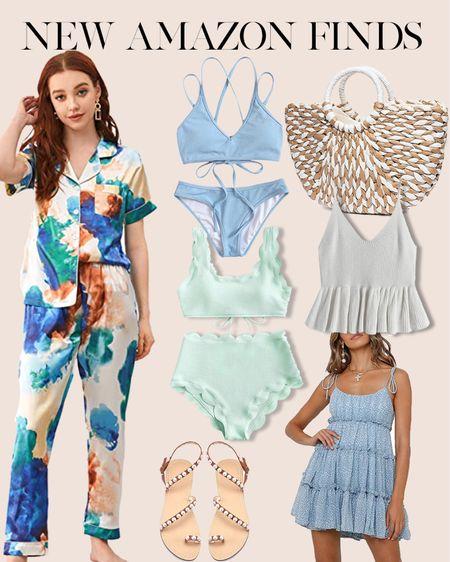 New amazon spring fashion finds. Pastel bikini swim suits, floral pajama sets, mint green scalloped swimsuit, peplum sweater tank, blue floral sundress http://liketk.it/3bgAb #liketkit @liketoknow.it #LTKunder50 #LTKstyletip #LTKunder100
