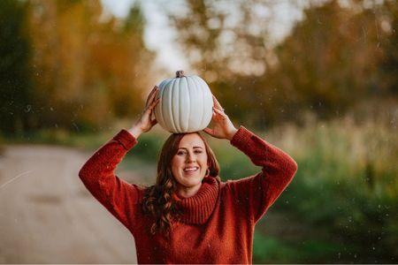 Oversized Turtleneck Burnt Orange Sweater, Faux White Pumpkin Fall Home Decor   #LTKunder50 #LTKsalealert #LTKFall
