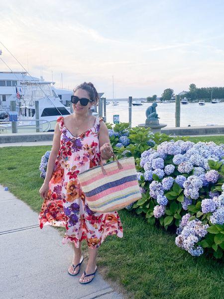 Ruffle dress, beach dress, floral dress, Beach bag, New England outfit, Nantucket outfit, summer dress   #LTKunder100 #LTKtravel