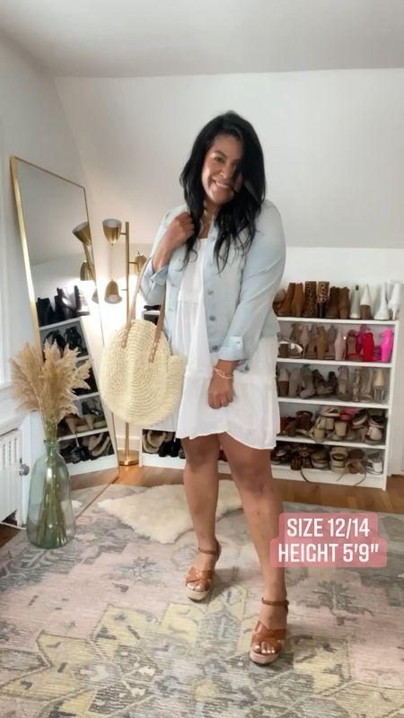 LOFT dress is on sale wearing an XL! Walmart fashion denim jacket is only $19, wearing a L #liketkit http://liketk.it/3gN6t  @liketoknow.it #LTKcurves #LTKunder50 #LTKsalealert    size 12, size 14, white dress, wedges, Jean jacket, denim jacket, eyelet dress, straw purse, midsize, mid size, plus size, summer outfit idea, vacation outfit, beach outfit   #LTKitbag #LTKSeasonal #LTKcurves