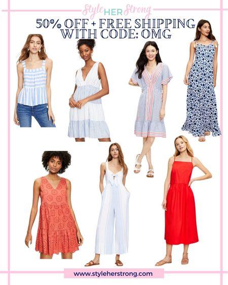 Fourth of July outfits patriotic dresses loft sale 50% off   #LTKunder50 #LTKsalealert #LTKSeasonal
