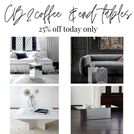 CB 2 Modern coffee and end tables  25%off sale to today. Glass side table and coffee table. Marble end table. White coffee table.   #LTKhome #LTKsalealert #LTKstyletip