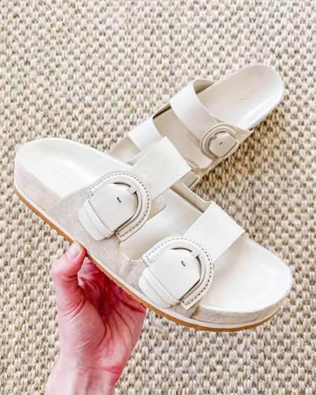 Okay, I know these are a splurge, but they take a basic Birkenstock look and elevate it with more comfort and details. I ordered my true size and have been wearing these with jeans everywhere this spring. I'll pair with jean shorts this summer! TTS.  #LTKSeasonal #LTKshoecrush