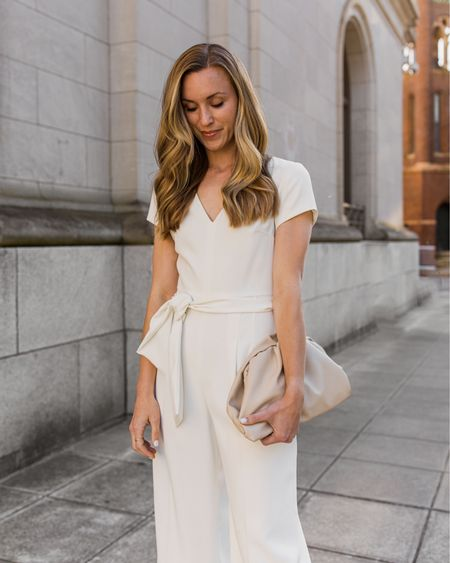 A little dressy jumpsuit outfit for the bride or another semi-formal event. My 'suit is old Club Monaco but I linked similar. 🤍 http://liketk.it/3fc56 #liketkit @liketoknow.it