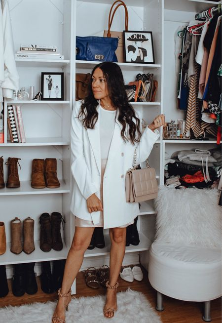 Date Night. Holiday Outfit. Satin Skirt and Oversized Blazer from H&M. Sale Alert! Nastygal finds also on sale to make this simple going out outfit.   #Datenightoutfit #Holidaystyle #holidayoutfit #girlsnightlook #satinskirt #whiteblazer #oversizedblazer #oversizedjacket #Falloutfit #Fallstyle  #LTKsalealert #LTKunder50 #LTKHoliday