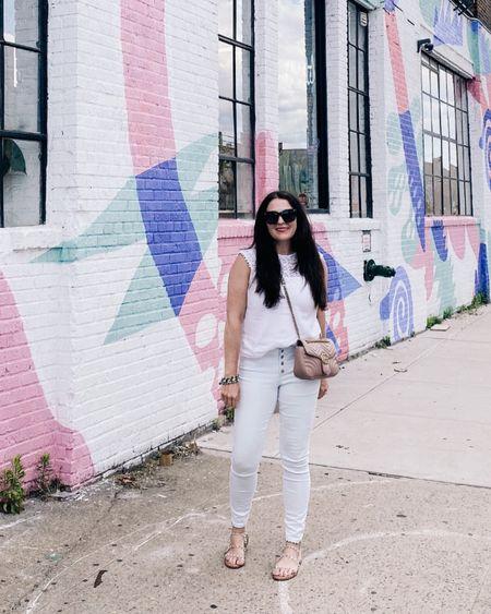 New York City outfit, high rise pants, white shirt, sunglasses  http://liketk.it/3hNm4 #liketkit @liketoknow.it