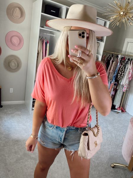 Tee - size medium Use code SIDNEY15 for 15% off!  @liketoknow.it http://liketk.it/3hCfv #liketkit #LTKunder50 #LTKstyletip   Summer outfit Casual outfit inspo  soft tee v neck  Rose orange pink coral tee Vacation outfit  Lack of color wide brim hat  Agolde Parker denim shorts  Affordable outfit