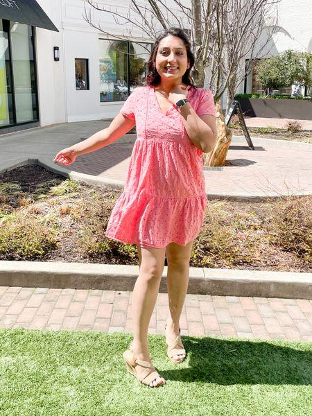 Twirling in my sundress. 💞 : #sundress #wedges #nudewedges #pinkdress #floralstuds  #LTKunder100 #LTKshoecrush #LTKunder50
