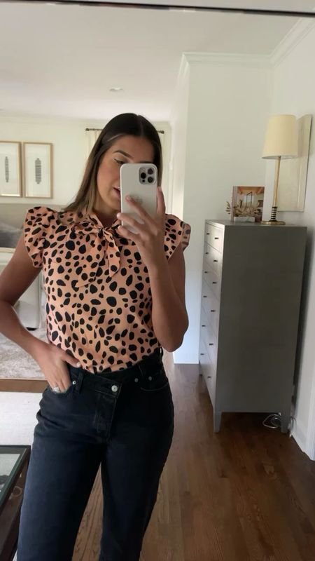 Amazon fashion top, under $20 (medium) and asymmetrical jeans from Abercrombie (28)   #LTKSale #LTKDay #LTKunder50