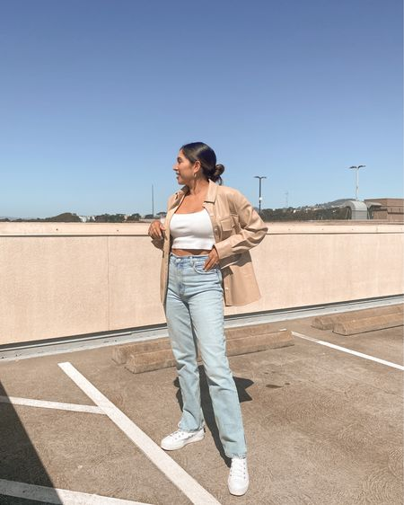 To obsessed with this leather shacket! The beige color is gorgeous in the sun ✨  And these Abercrombie jeans are my new fave. I love the split hem. They go perfectly with some chunky converse.  #LTKunder50 #LTKSeasonal