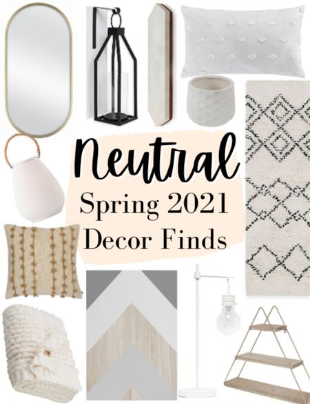 Neutral spring 2021 decor finds!   I love neutral and simple home decor during the spring time. So I did some shopping for us all and found some of my favorite neutral home decor for spring this year.   ✨✨✨✨✨  Spring, spring decor, spring home decor, spring decor finds, spring home decor finds, seasonal decor, neutral decor, beige and black rug, geometric beige rug, geometric shelf, wood and gold shelf, wood wall art, white table lamp spring, gold oval mirror, polka dot tassel pillow, white throw pillow.   #LTKhome #LTKSeasonal