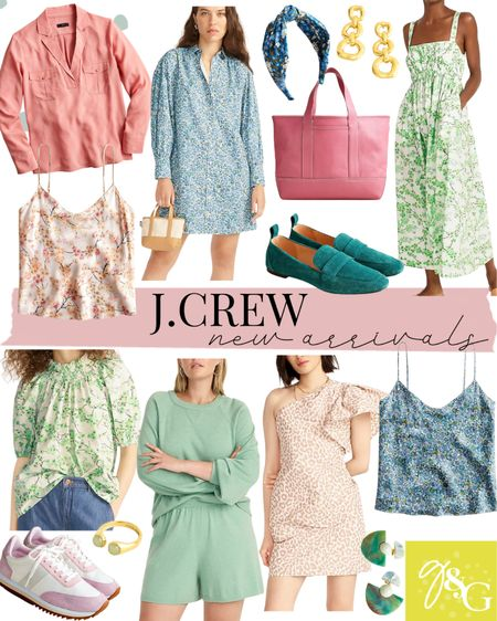 Jcrew New Arrivals  // matching lounge set, floral dress, leather tote, sneakers, silk tank, shirt dress, wedding guest dresses   #LTKunder100 #LTKstyletip #LTKunder50