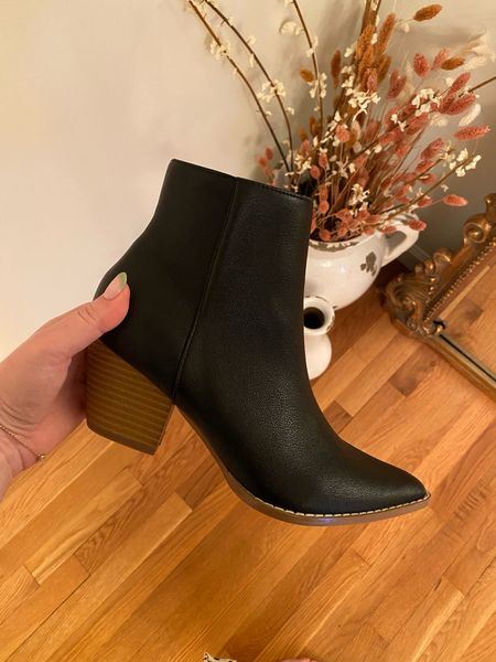 Fall boots under $60!! Quality is great and so comfy! They run TTS but you may want to size up 1/2 size if you have a wider foot.