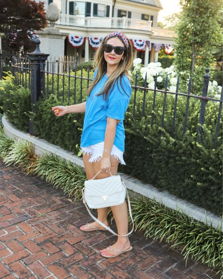 Olympic casual. The best cutoff shorts are just $15 (size up 1 size)! Also, my clear stud sandals have been worn non-stop this summer and are under $25! Size up .5 size. Finally, this quilted shoulder bag is a great dupe at $35! Gifted necklace and earrings are from Kendra Scott.   #LTKunder50 #LTKSeasonal #LTKstyletip