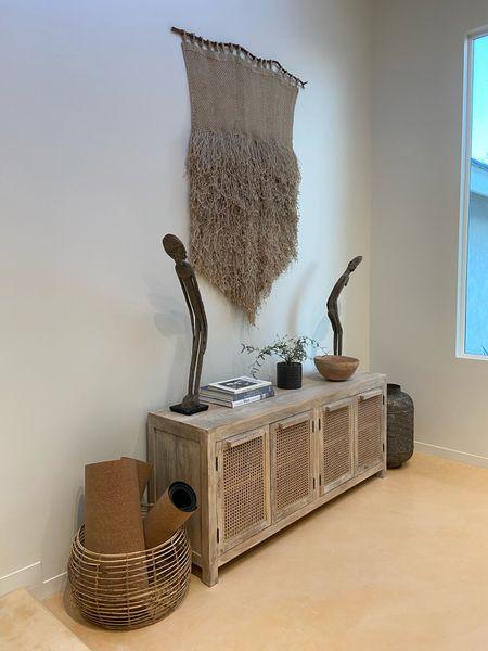 Boho home decor, cane furniture, home decor, living room decor, wall hang, media console  #LTKHoliday #LTKsalealert #LTKhome