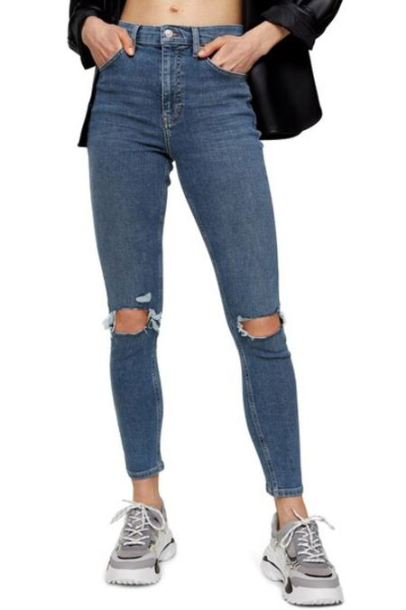 Topshop jeans | cropped jeans | distressed jeans | high waist jeans | destroyed jeans | skinny jeans | blue jeans | knee cut jeans #LTKunder100 #LTKstyletip #LTKitbag @liketoknow.it #liketkit http://liketk.it/2Vo8n