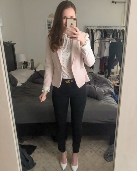 Wearing an XS in the top and blazer, black jeans I sized up to a 4 for a less snug fit. White Steve Madden heels fit TTS    http://liketk.it/3fIr0 #liketkit @liketoknow.it #LTKworkwear office outfit, realtor outfit, real estate outfit, spring business casual, pink blazer