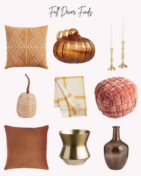 Fall home decor, world Market, pumpkin, throw blanket, pillows, vase, candle holders, autumn   #LTKhome #LTKSeasonal #LTKunder50