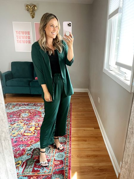 business casual Amazon fashion finds: this set is everything! its so cute and comfy! this black top is one of my favorite amazon finds! also linked these black heels, another amazon fashion find.    #LTKworkwear #LTKunder50 #LTKshoecrush