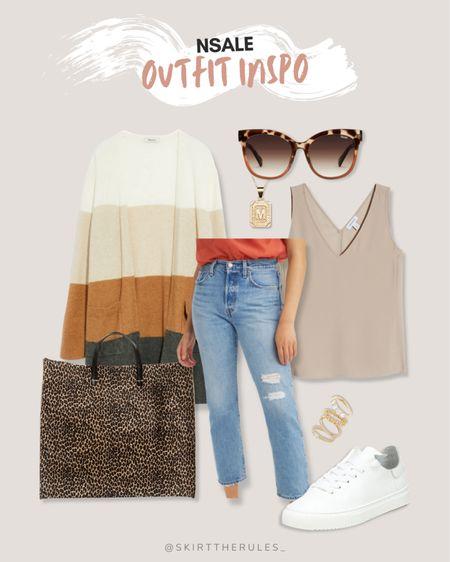 Nordstrom Anniversary Sale, NSale, Nordstrom sale: color block cardigan, light wash straight jeans, tortoise earrings, beige tank, leopard tote bag, white sneakers, gold stacking rings. @liketoknow.it http://liketk.it/3jPej #liketkit #LTKunder50 #LTKstyletip #LTKsalealert
