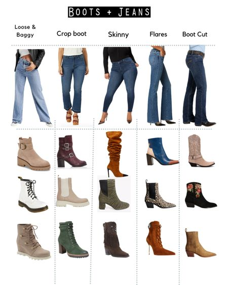 A perfect pairing boots + Jeans.  Which boots look good with … Loose & baggy jeans Crop flare jean Kick flare jean Skinny jean Flares  Flared jeans Boot cut jeans  Western boots Cowboy boots Tall boots Slouchy boots Ankle boots Doc Martens   #LTKstyletip #LTKeurope #LTKSeasonal