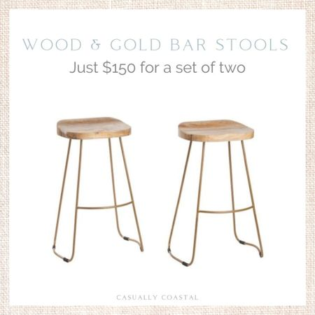 Love the light wood and gold tone on these bar stools - as well as the price! Just $150 for a set of two. Use code SHIP89 for free shipping! - coastal dining chairs, marshalls finds, tj maxx finds, affordable stools, affordable bar stools,  coastal decor, beach house decor, beach decor, beach style, coastal home, coastal home decor, coastal decorating, coastal house decor, counter stool wood, rattan counter stool TJ Maxx finds, TJ Maxx home, rope counter stools, wood counter stools, marshalls home, backless bar stools  #LTKhome #LTKfamily
