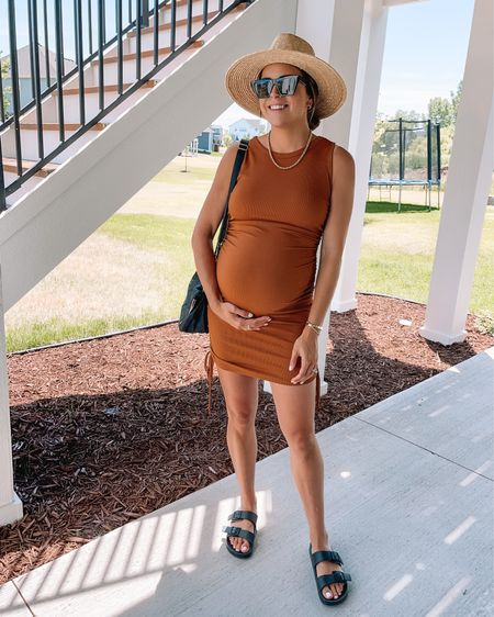 Amazon dress: true to size (S)  Birkenstock dupes: true to size, size up if between Summer hat, straw hat   #LTKunder50 #LTKbump #LTKswim