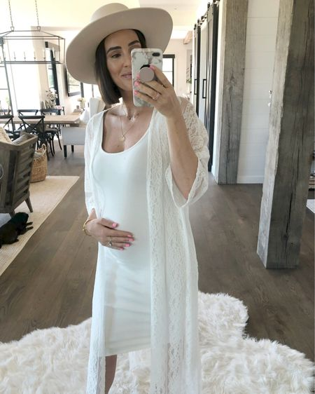 F A S H I O N // I can't believe I'm 6 months preggers!! This bump is coming in hottttt🤰🏻 Loving the monochromatic OOTD with a fresh white $17.99 stretchy dress and $46 lace kimono!!🙌🏻 Sharing a closer look over on my Insta story! Linked these beauts and my new tan hat, jewels and booties! Shop it by clicking the link in my Insta bio or on the @liketoknow.it APP!!🙋🏻♀️  Sizing👇🏻 Dress: L Kimono: M Hat: S Booties: TTS  #maternity #dress #LTKbump #LTKunder50 #LTKstyletip #liketkit #ootd #summeroutfit #summerfashion // http://liketk.it/2DSJ4