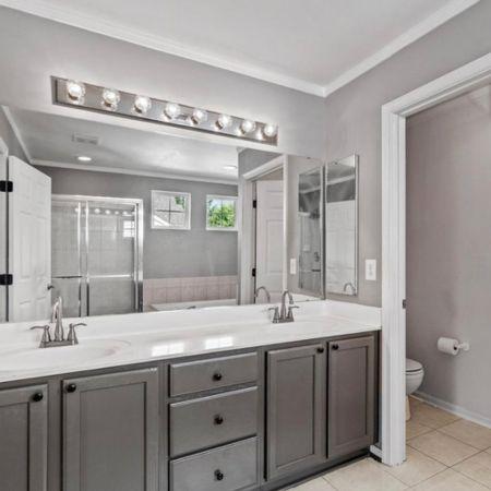 Dual vanity, hardware, painted cabinets   #LTKstyletip #LTKhome #LTKunder100