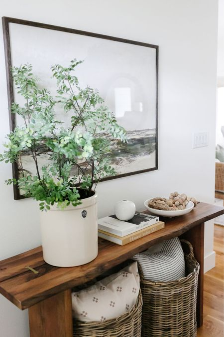 Entryway console table decor ideas. Loving my new Amazon pot filled with faux greenery!    #LTKunder100 #LTKunder50 #LTKhome